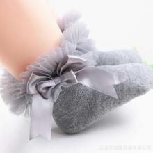 Носки для малышей короткие носки принцессы с кружевными цветами и бантом для девочек хлопковые короткие носки с оборками