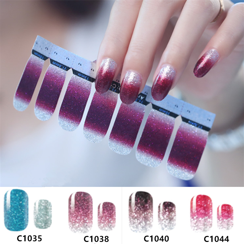 14 Tips/Sheet Nail Art DIY Full Cover Self Adhesive Stickers Polish Foils Tips Wraps Glitter Gradient Shiny Nail Decals Manicure