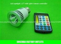 AC 100-240 V 220 v 5 W hoge helderheid Dimbare rgb led spotlight plafondlamp e27 met rgb afstandsbediening