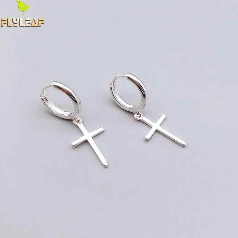 Flyleaf 925 Sterling Silver Cross Dangle Earrings For Women 2018 New Trend Lady Fashion Jewelry Pendientes Mujer Moda