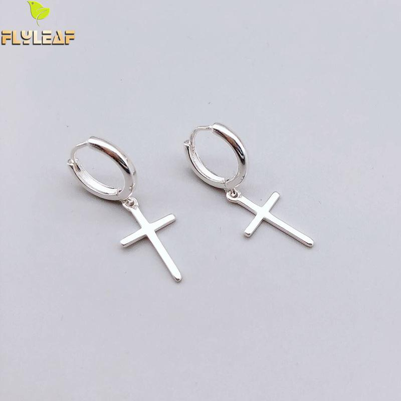 Flyleaf 925 Sterling Silver Cross Dangle Earrings For Women 2018 New Trend Lady Fashion Jewelry Pendientes Mujer Moda(China)