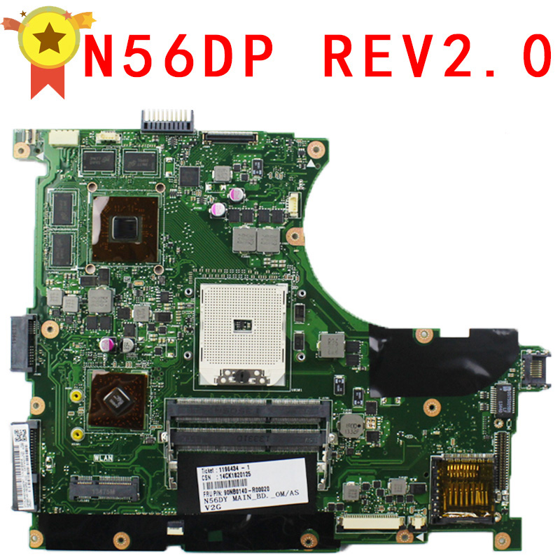 for ASUS N56D Laptop motherboard N56DP N56DY N56D N56DR REV2.0 mainboard 60-NQOM1002- C03 brand new pbl80 la 7441p rev 2 0 mainboard for asus k93sv x93sv x93s laptop motherboard with nvidia gt540m n12p gs a1 video card