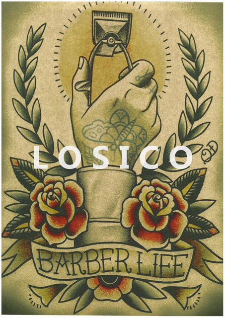 vintage carteles tatuajes con dibujos de peluquera barbera de restauracin de pintura interior de papel kraft