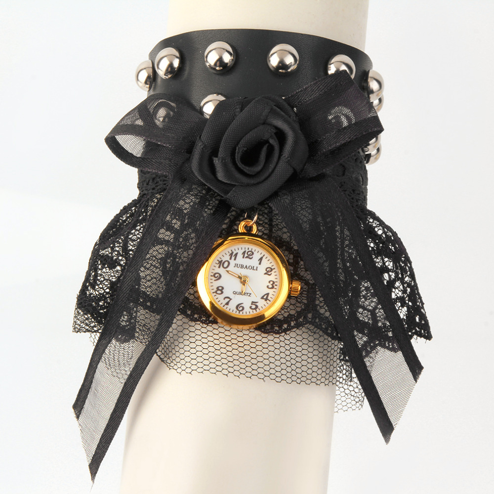 JUBAOLI Women Lovely Black Lace Bracelet Quartz Watch Lace Bow for Wrist Watch relogio feminino wrist watch women Hot Selling бюстгальтер quelle quelle 916302