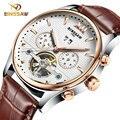 BINSSAW o novo 2016 moda marca de luxo de couro automática relógio mecânico turbilhão dos homens esportes relógios relogio masculino