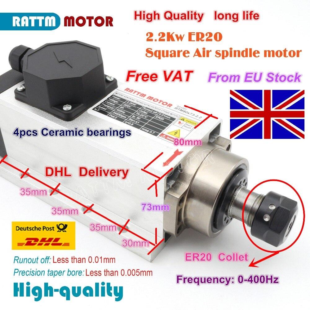 EU free VAT Square 2 2kw Air cooled spindle motor ER20 runout off 0 01mm 220V
