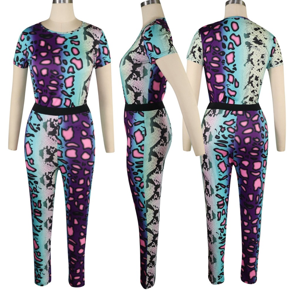 2019 Summer Women Short Sleeve Leopard Print 2 Piece Set Tracksuit Female Workout Slim Bodycon Club Outfits Sweatshirt Pants Set in Women 39 s Sets from Women 39 s Clothing