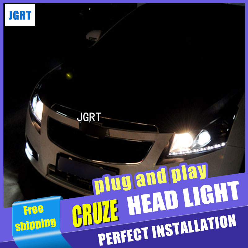 Car Styling Headlight assembly 2009-2013 for Chevrolet Cruze DoubleU Angel Eye LED DRL Lens Double Beam H7 hid kit with 2pcs.