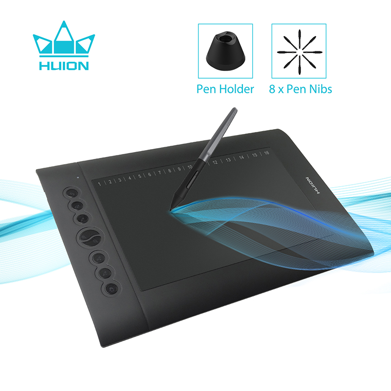 Huion H610 PRO V2 Digital Graphic Tablets Artist Design Drawing Tablet Tilt Function Battery-Free Pen Tablets For Win And Mac