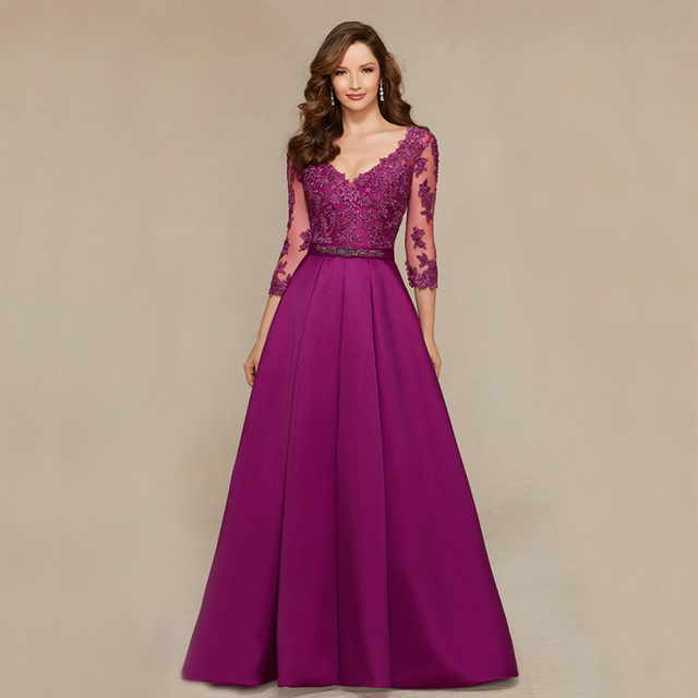 Designer Mother Of Bridegroom Dresses For Wedding Lace V Neck 2016