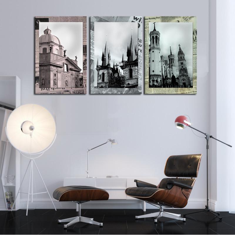 Cuadros Decoracion Pintura Sin Marco 3 Sets Arquitectura Arte Barato ...