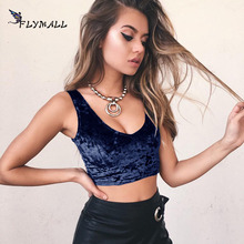 FLYMALL Sexy Women Velvet Cropped Camis Crop Top Vintage Retro Punk Female Harajuku Sleeveless Shirt Bralette Fitness For Lady