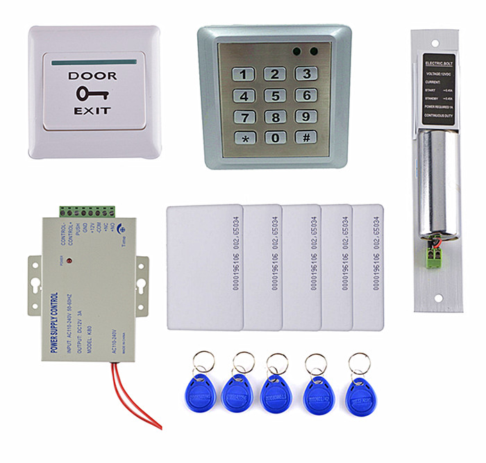 8618 Waterproof RFID 125KHz Keypad Access Control Security System Full Kit Set + Electric Bolt Lock For House / Office diysecur magnetic lock door lock 125khz rfid password keypad access control system security kit for home office