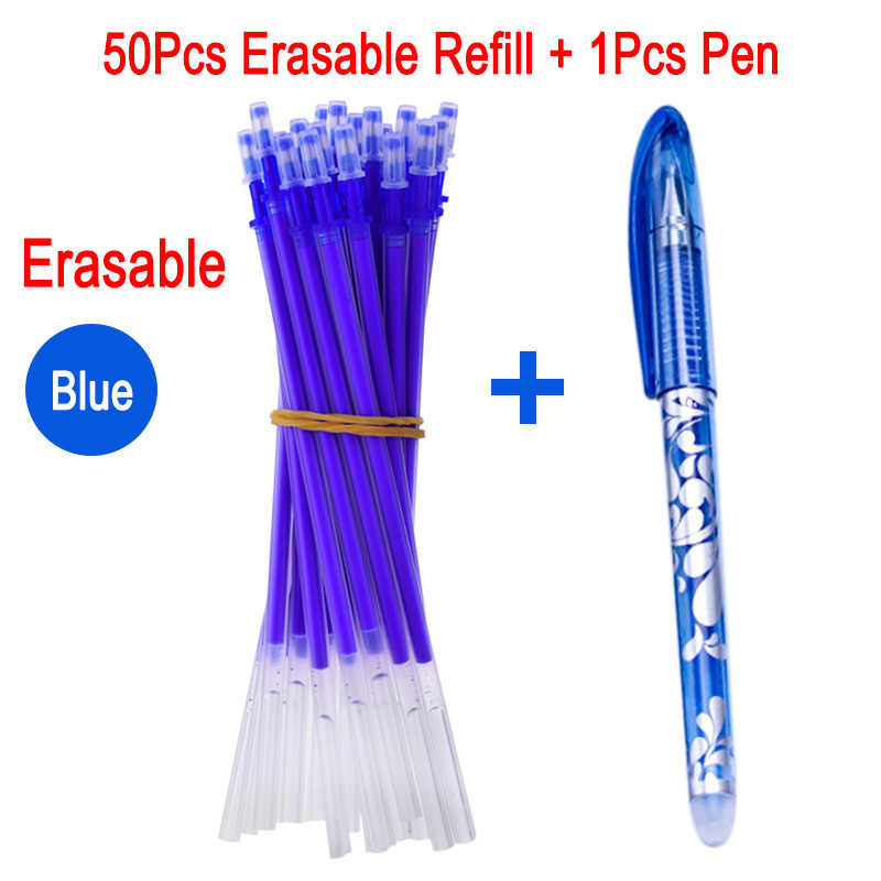 Delvtch 50 шт./компл. 0,5 мм стержень со стираемыми чернилами, стираемая ручка с заправляемым стержнем стержни для офиса стержни для гелевых ручек цвет синий, черный; большие размеры канцелярские приспособления для работы:
