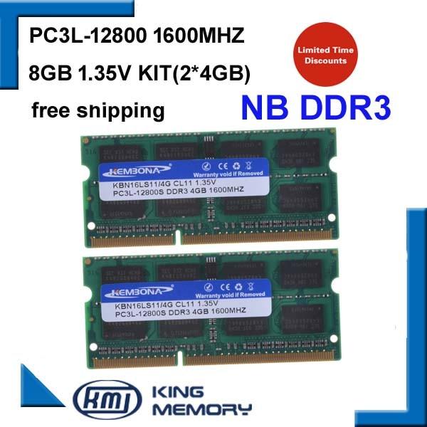 Garantia de Vida Kembona Marca Novo Portátil Memória Ram Ddr3 8 gb Kit 2*4 12800 s Pc3l 1.35 v Baixa Potência 1600 Mhz 204 Pinos Sodimm
