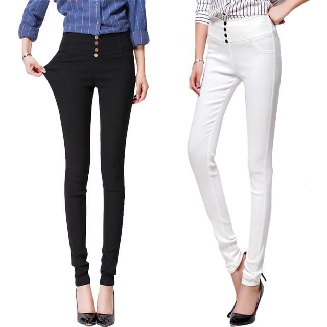 Moda Verão Elegante das Mulheres de Cintura Alta Estiramento Calças Lápis Calças Justas