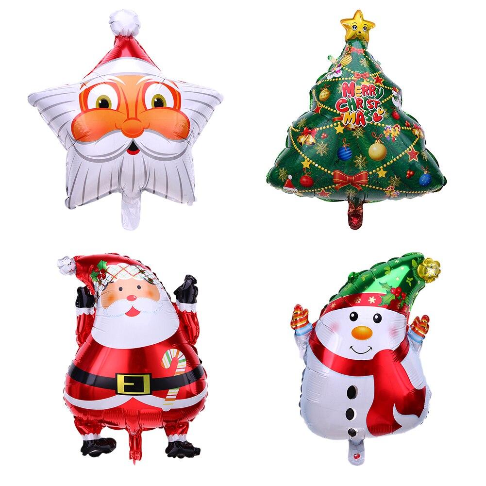 1PC Cute Christmas Tree Santa Claus Snowman Bell Foil Balloons Xmas ...