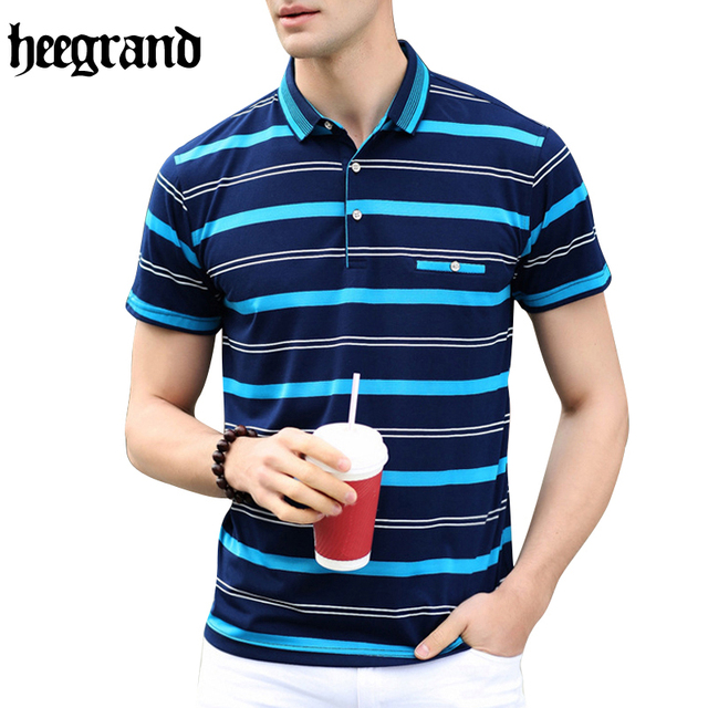 HEE GRAND 2017 High Quality  Man Casual Polos Fashion Striped Men Short Sleeve Polo Shirts M~3XL MTP399