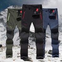 6XL Men Fleece Outdoor Softshell Trousers Oversized Camping Trekking Hiking Climbing Skiing Fishing Winter Waterproof Pants