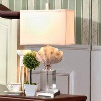 럭셔리 복고풍 카메오 쉘 크리스탈 테이블 램프 고급 침실 침대 옆 램프 조각 수지 장식 램프 Abajur Led