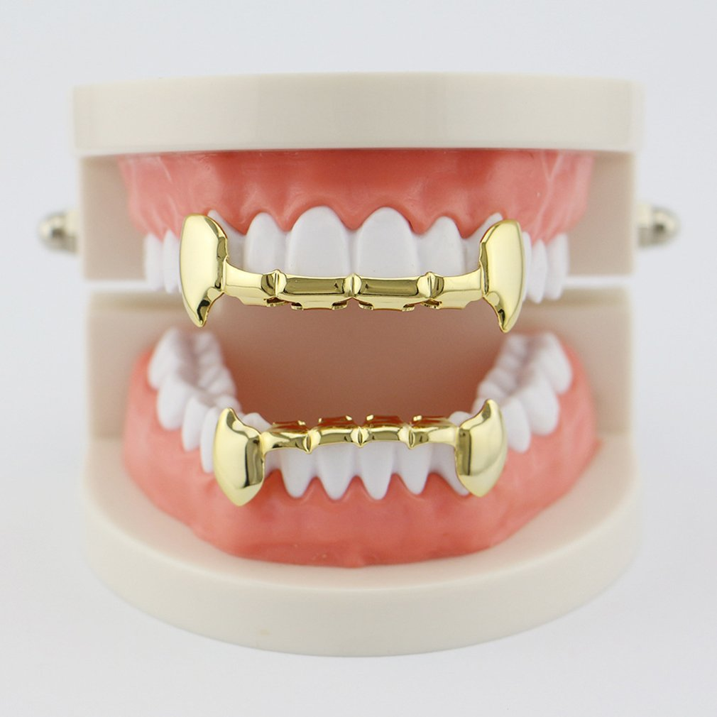 Vampire Teeth Jewelry New Custom Hip Hop Rapper Fangs Caps Top & Bottom Grill Set 4 Colors Tooth Fangs Electroplate Copper image