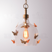 American LED pendant pendant for bedroom balcony corridor restaurant butterfly glass postmodern princess children's room chandel 1pc iron glass pendant lights retro living room restaurant corridor balcony garden personality pendant lamps za