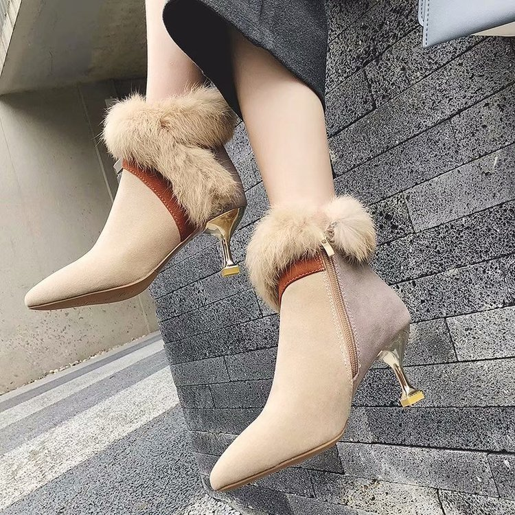 faux fur decoration ankle boots women gold high heeled plush winter booties mixed color suede leather peluche botas mujer s456 40