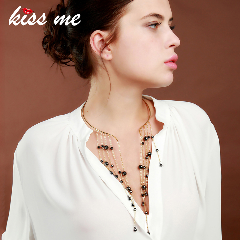 kissme Women Torques Trendy Gray Beads Long Tassel Choker Necklace Special Design Maxi Necklace Fashion Jewelry Accessories
