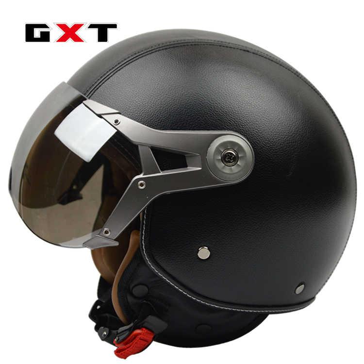 GXT шлем Vespa мотоциклетный шлем в стиле ретро шлем moto 3/4 с открытым лицом moto cross шлем козырек Лисий мотокросс