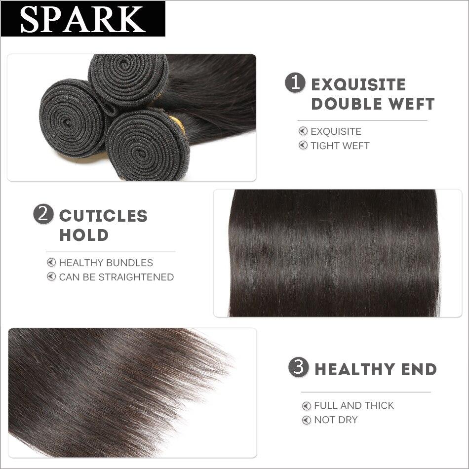 SPARK Haar Braziliaanse Virgin Haar Straight 1 ST Haar Weave Bundels - Mensenhaar (voor zwart) - Foto 3