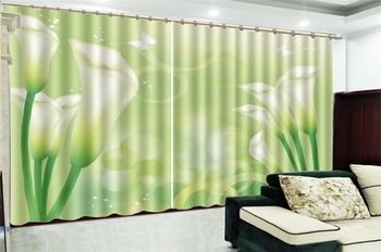 Curtain Window Promotion Dreamy delicate calla Decoration Indoor Living Room Bedroom Kitchen Window Blackout Curtain