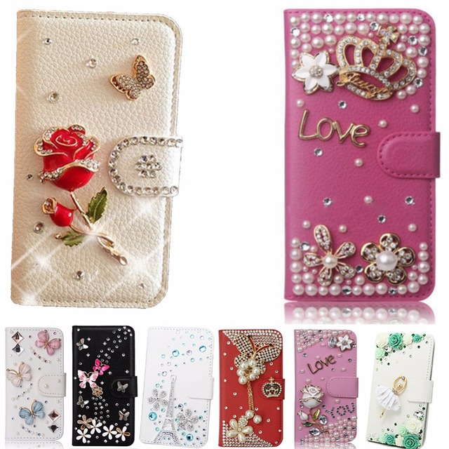 on sale 80004 23b36 US $7.45 8% OFF|Phone case for iphone X,Cute flower Flip Magnetic Bling  Crystal Diamond Rhinestone Leather Wallet Handmade Fashion Phone Cover-in  ...