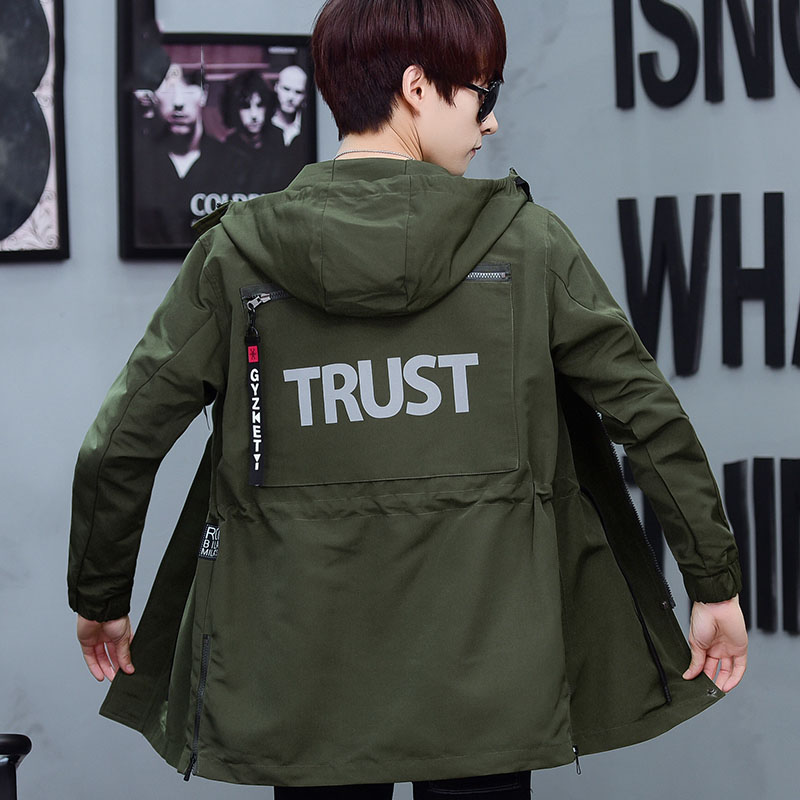 New arrvial letter print trench coat students hooded drawstring outerwear 2019 autumn winter plus size M - XXXXL