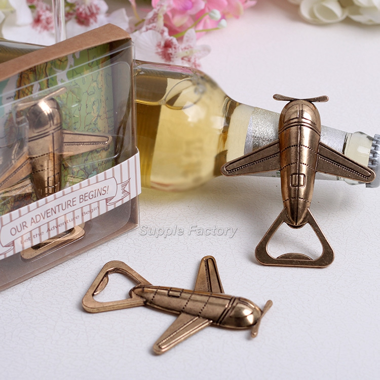 100pcs lot Free Shipping Antique Air Plane Airplane Shape Wine Beer Bottle Opener Metal Openers For