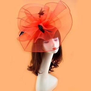 Image 5 - Модельный подиумный головной убор 2018, супер большой размер, женские аксессуары для волос, Карнавальная Шпилька, Женская коктейльная вуалетка, 17 видов цветов