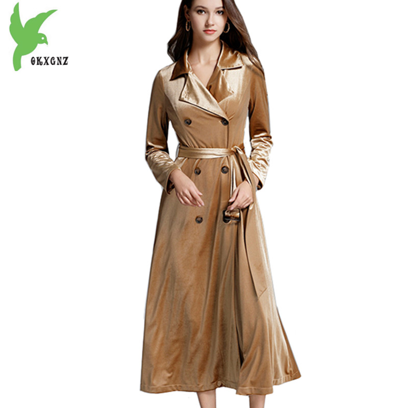 Boutique Gold velvet   Trench   Coats Women Autumn Winter Long section Windbreaker Belt Slim Golden Outerwear Velvet Coat OKXGNZ1430