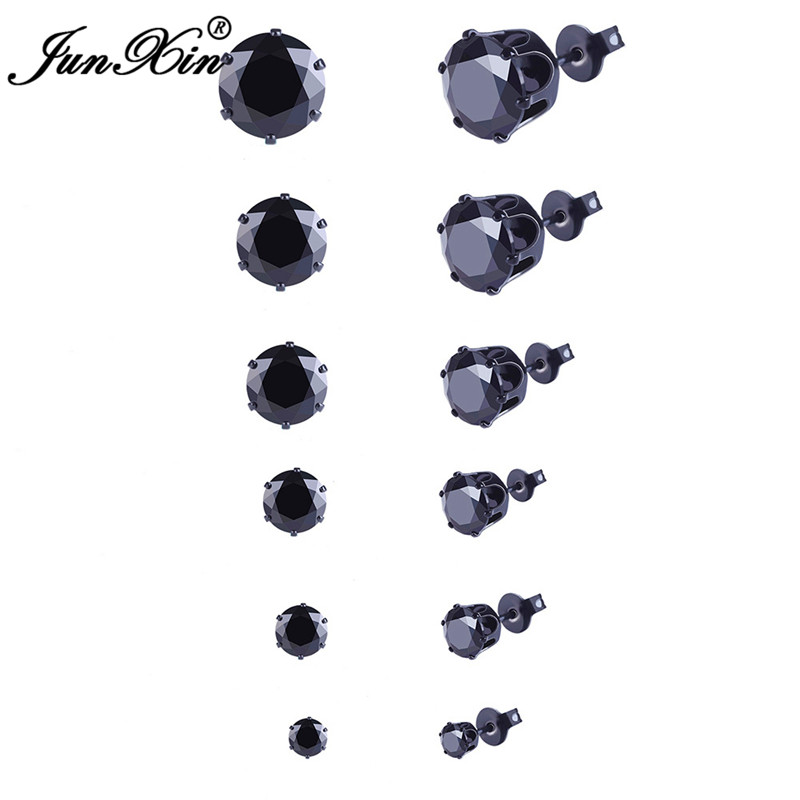 JUNXIN Female Small Black Round Stud Earrings Gold Filled Earring Sets Wedding Jewelry Double Sided Earrings For Women(China)