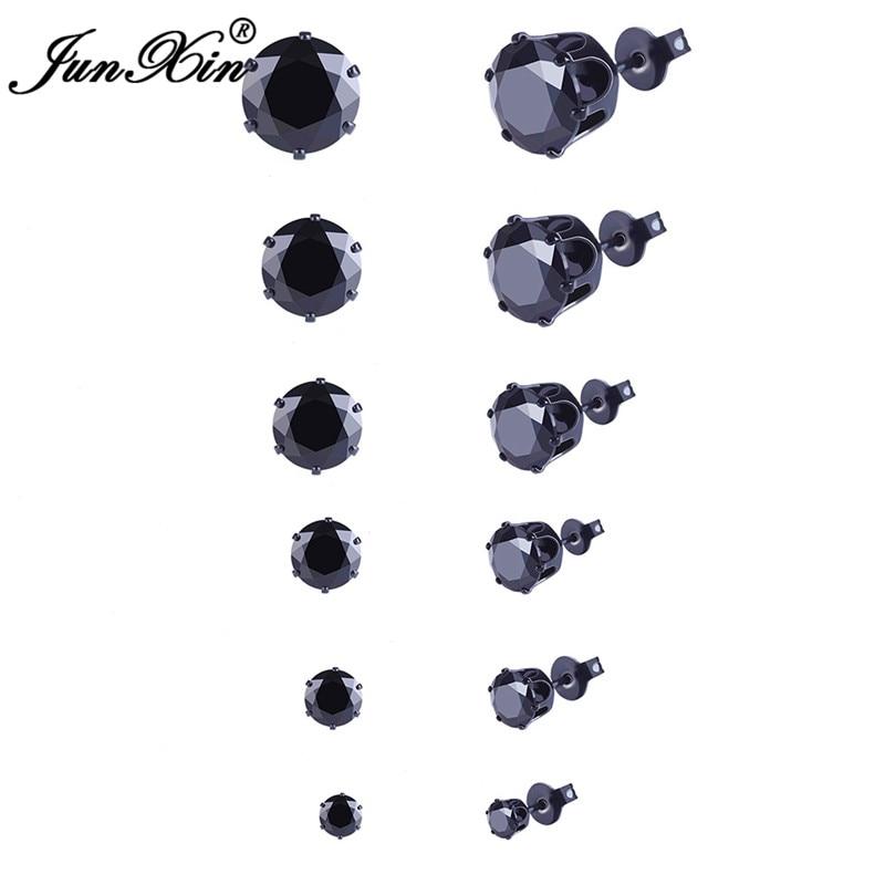 JUNXIN женские маленькие черные круглые серьги-гвоздики позолоченные серьги наборы свадебные ювелирные изделия двусторонние серьги для женщ...