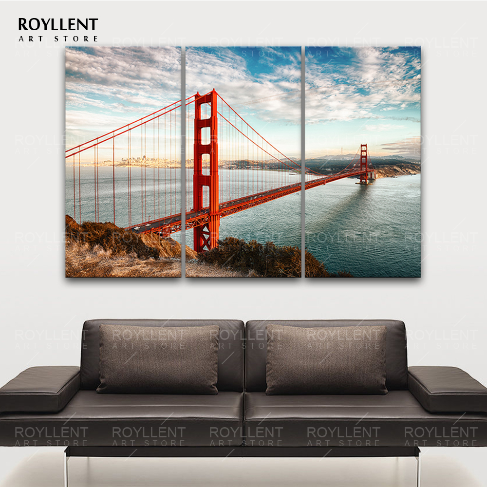 Modern Wall Paintings Living Room Aliexpresscom Buy Golden Gate Bridge Picture Modern Wall Art