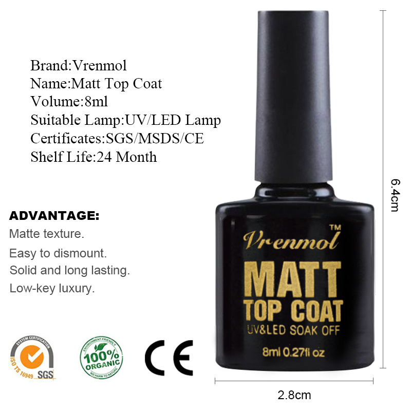 Vrenmol 1st Matt Top Coat UV Gel Nagellack Soak Off Matte Topplackat - Nagel konst - Foto 2