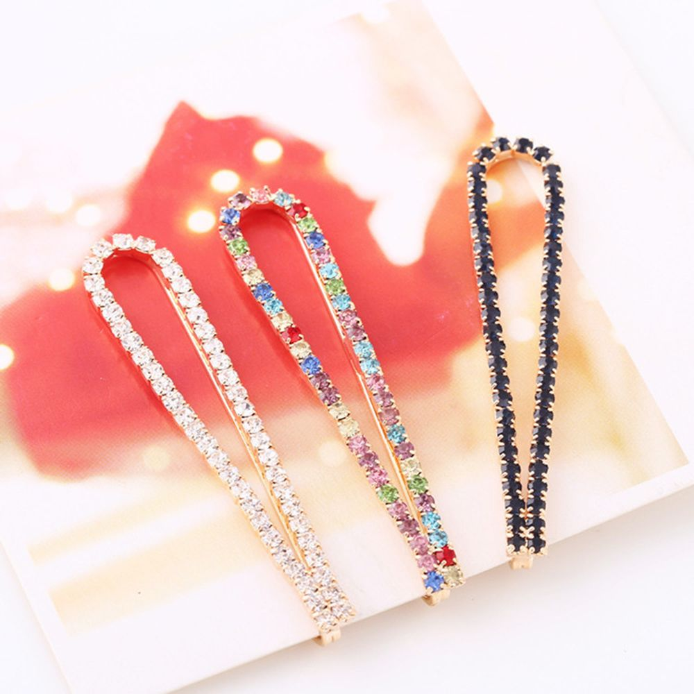 1Pc Black White Women Crystal Rehinstone Fashion Hairpins Alloy Barrette Hair Clips Pins Barrettes Hair Accessories