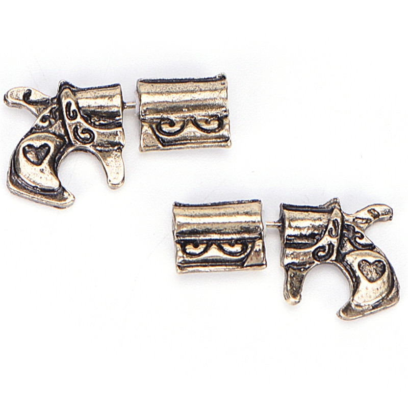 1 Pair Fake Double Pistol Gun Shaped Faux Plug Stud Earrings For Women Stud Earrings