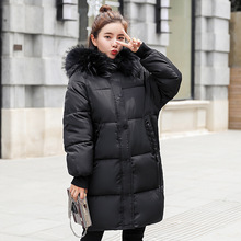 2018 new autumn and winter wear down jacket Korean version of the large size Slim long loose student cotton jacket jacket 2018 new girls in the winter of the south korean version of the thick down jacket with a long coat in the hair collar and jacket