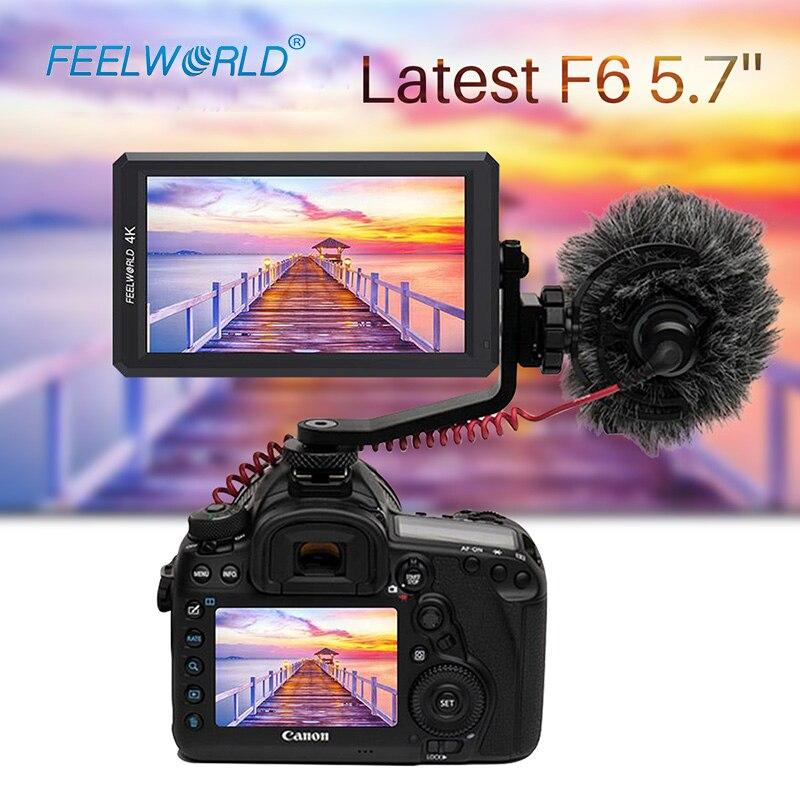 FeelWord F6 5.7 IPS 4 K HDMI Vidéo écran de caméra pour Vlogging Zhiyun DSLR Feiyu Dji Full HD Sur écran de caméra pour canon Nikon