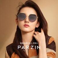 PARZIN Women's Sunglasses Brand Design High Quality Retro Metal Large Frame Frame Quality Nylon Ladies Sunglasses New