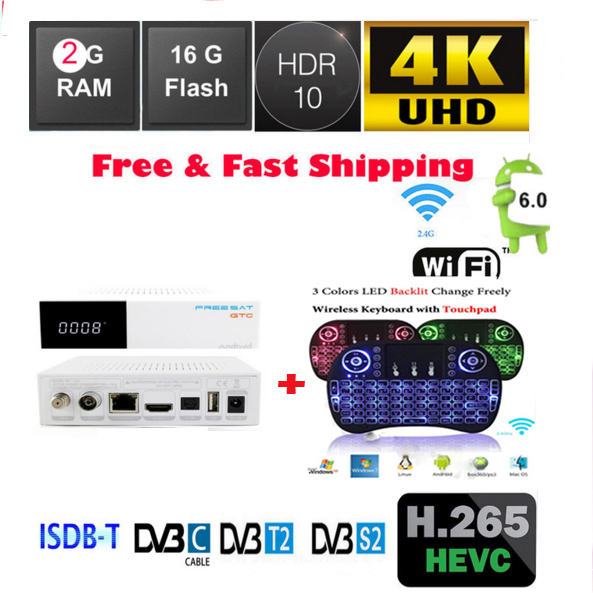Free sat GTC+I8 2g 16g 4k Satellite Receiver works DVB S2 dvb t2 dvb c ISDB-T Amlogic S905D android6.0 BT4.0 1080p mobile dvb t2 car digital tv receiver real 2 antenna speed up to 160 180km h dvb t2 car tv tuner mpeg4 sd hd