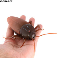 OCDAY Funny Simulation Remote Control Cockroach Scary Creepy Insect Halloween Gift Infrared RC Gag Toys For