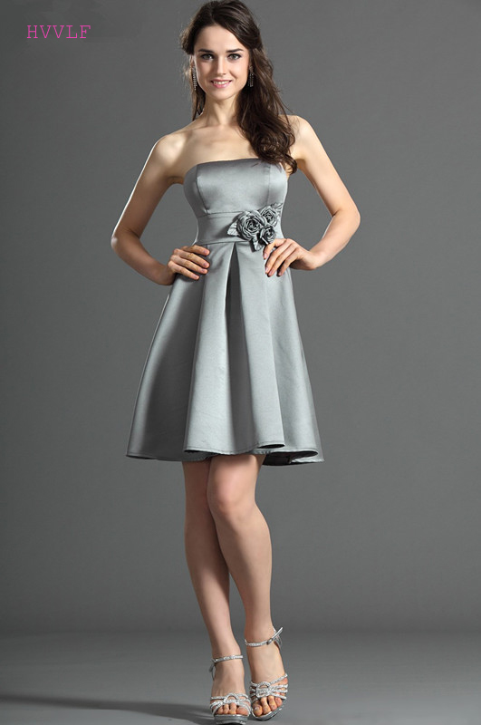 Gray 2019 Cheap Bridesmaid Dresses Under 50 A-line Strapless Short Mini Backless Wedding Party Dresses