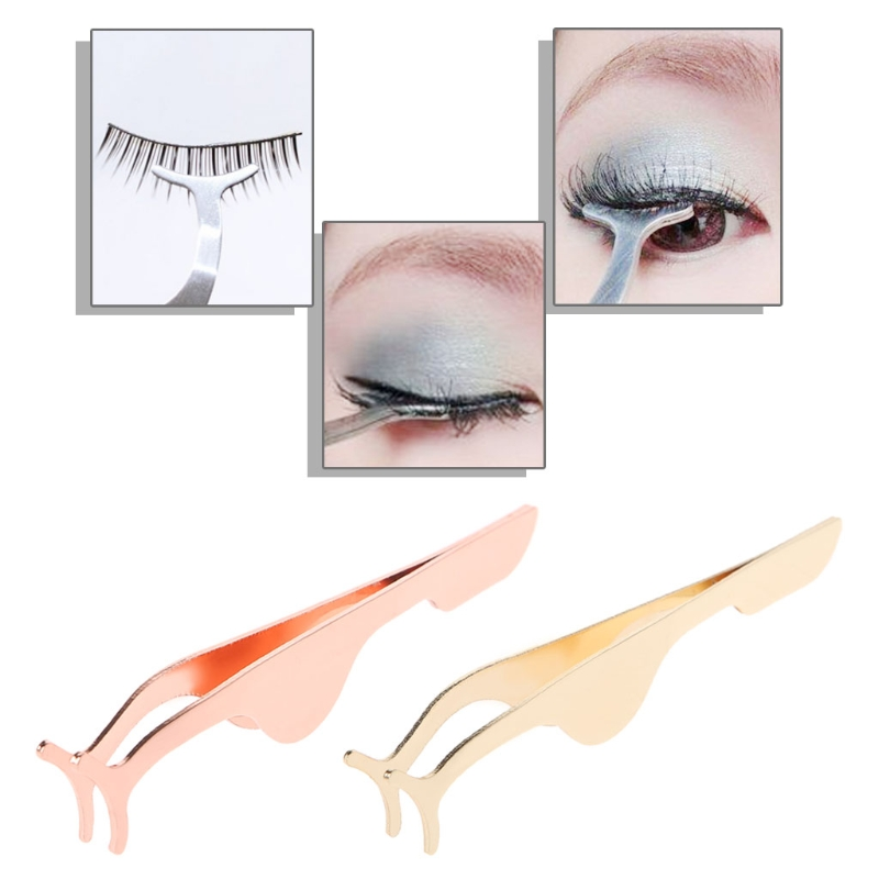 Women Stainless Steel False Eyelash Extension Applicator Fish Tail Clip Tweezers save your time on makeup .