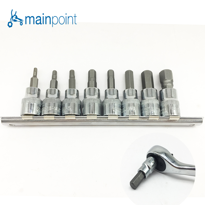 Mainpoint 8Pc Hex Bit Socket Allen Key Ratchet Drive Adapter Set 3/8Socket Wrench Car Hand Tools Repair Kit Cr-V Steel Bits 9pcs durable reinforced toughen metric ball ended hex allen key wrench set bs